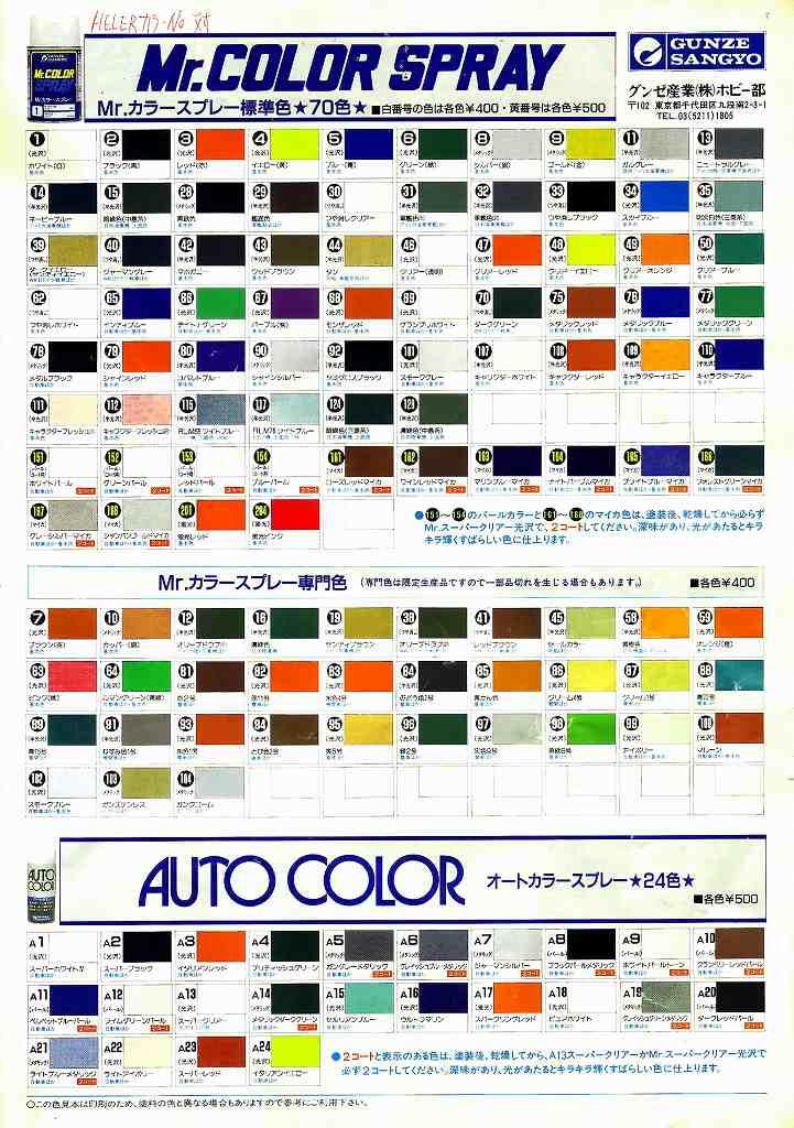 Heller模型塗装色対応表/Model ...