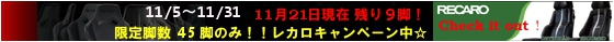 RECARO 限定45脚 レカロキャンペーン☆ 疲労軽減 腰痛対策 腰痛予防!