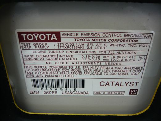 Us Toyota Genuine Vehicle Emission Control Information