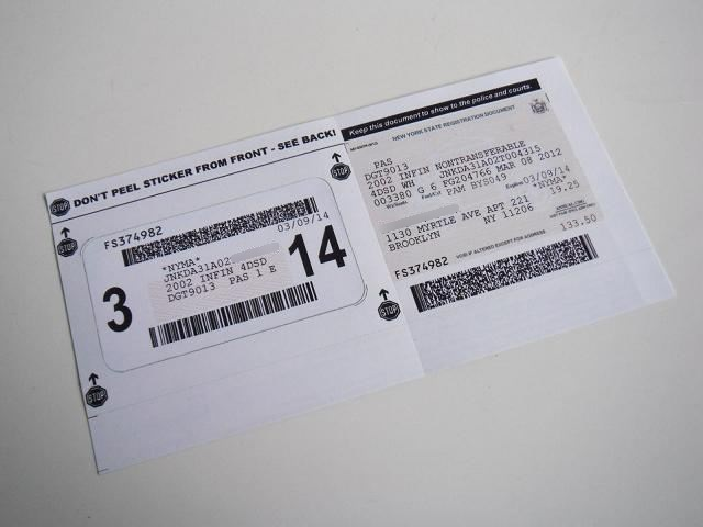 New York State Registration Sticker And Document No1|other