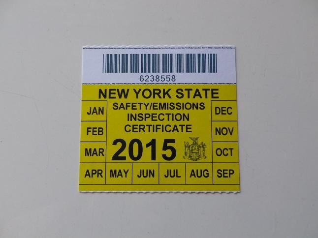 New Car Inspection Sticker Ny